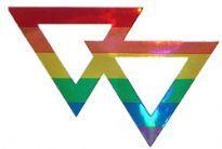 Metallic Rainbow Double Triangle Sticker