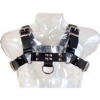 Bryst-harness i sort sadel-læder