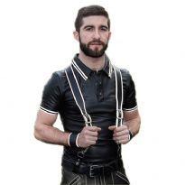 Poloshirt m/hvide striber