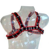 Sort Bryst Harness med røde striber