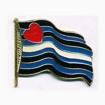 Wavy Leather Flag-pin