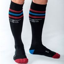 Mister B Urban sokker - Sort - rød/blå/rød