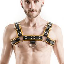 MisterB Gummi bryst harness Sort/Gul
