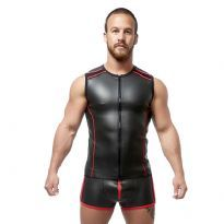 Mister B Neoprene Sleeveless T Zip - Sort/Rød