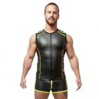 Mister B Neoprene Sleeveless T Zip - Sort/Gul