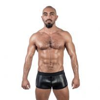 Club Homoware Mister B Neoprene Shorts 3 pkt lynlås - Sort/Sort, Large