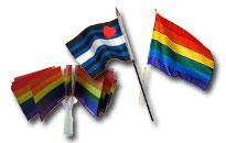 Både regnbueflag i stof og papir, Flotte regnbue flag i papir og stof