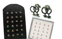 Diskrete øreringe med mand-mand symbolet,diskrete øreringe i kvinde-kvinde symbolet, diskrete øreringe i regnbuens farver