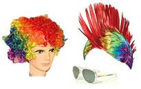 parykker til Priden,regnbue-parykker i flotte farver