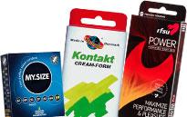 Pakker med kondomer, Kondompakker