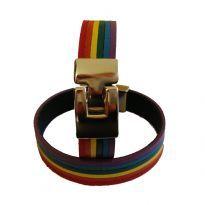 Regnbuearmbånd i læder med stållås.