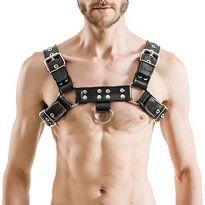 MisterB Gummi bryst harness Sort/Sort