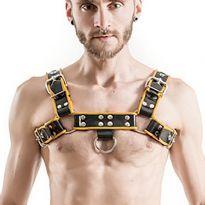 MisterB Gummi bryst harness Sort/Gul